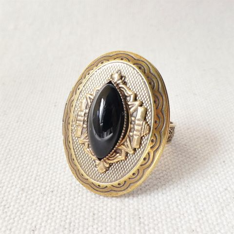 Jan,Michaels,Marquise,Locket,Ring,with,Black,Onyx,Jan Michaels Marquise Locket Ring with Black Onyx