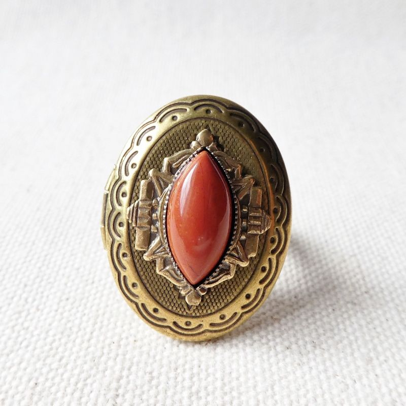 Jan Michaels Marquise Locket Ring with Red Brecciated Jasper - product image