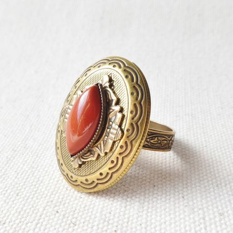 Jan,Michaels,Marquise,Locket,Ring,with,Red,Brecciated,Jasper,Jan Michaels Marquise Locket Ring with Red Brecciated Jasper