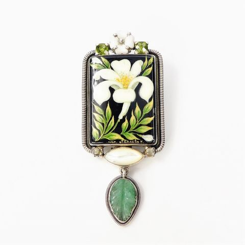 Amy,Kahn,Russell,-,Russian,Hand,Painting,Lily,Pin,Pendant,Amy Kahn Russell, Russian Hand Painting Lily Pin Pendant