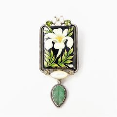 Amy Kahn Russell - Russian Hand Painting Lily Pin Pendant - product images 1 of 10