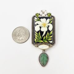 Amy Kahn Russell - Russian Hand Painting Lily Pin Pendant - product images 2 of 10