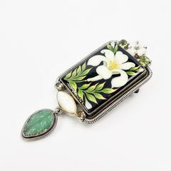 Amy Kahn Russell - Russian Hand Painting Lily Pin Pendant - product images 3 of 10