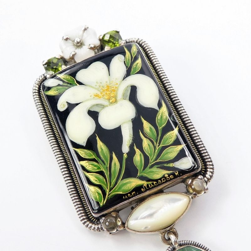 Amy Kahn Russell - Russian Hand Painting Lily Pin Pendant - product image