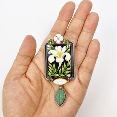Amy Kahn Russell - Russian Hand Painting Lily Pin Pendant - product images 9 of 10