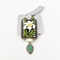 Amy Kahn Russell - Russian Hand Painting Lily Pin Pendant - product images 10 of 10