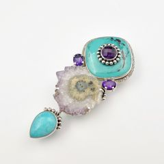Amy Kahn Russell - Amethyst Turquoise with Geode Pin Pendant - product images 2 of 8