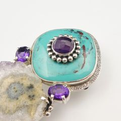 Amy Kahn Russell - Amethyst Turquoise with Geode Pin Pendant - product images 3 of 8