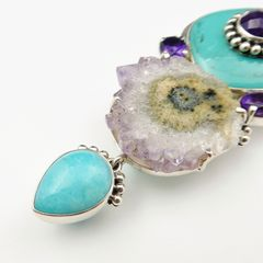 Amy Kahn Russell - Amethyst Turquoise with Geode Pin Pendant - product images 4 of 8