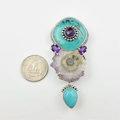 Amy Kahn Russell - Amethyst Turquoise with Geode Pin Pendant - product images 5 of 8