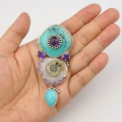 Amy Kahn Russell - Amethyst Turquoise with Geode Pin Pendant - product images 7 of 8