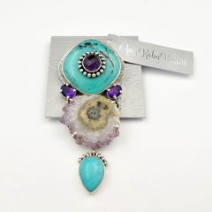 Amy Kahn Russell - Amethyst Turquoise with Geode Pin Pendant - product images 8 of 8