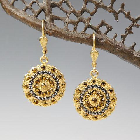 Catherine,Popesco,Filigree,Flower,Earrings,with,Swarovski,Crystals,in,Dorado,Catherine Popesco Earrings, La Vie Parisienne Earrings, Catherine Popesco Jewelry, Catherine Popesco Paris