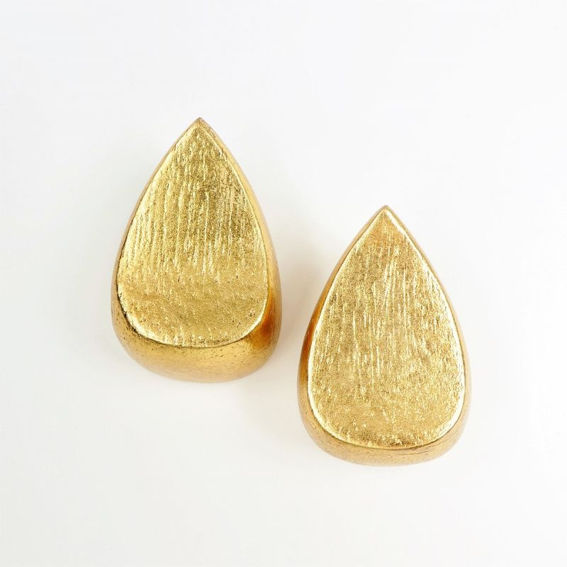 Monies - Gold Foil Chunky Teardrop Clip Earrings - product image