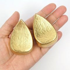 Monies - Gold Foil Chunky Teardrop Clip Earrings - product images 9 of 9