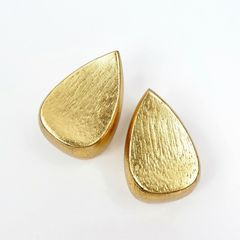 Monies - Gold Foil Chunky Teardrop Clip Earrings - product images 2 of 9