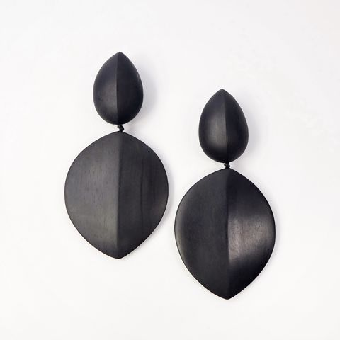 Monies,-,Black,Ebony,Large,Linked,Leaf,Clip,Earrings, Monies Earrings, Monies Denmark, Monies Jewelry