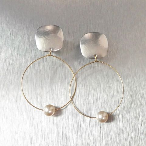 Marjorie,Baer,Rounded,Square,with,Delicate,Hoop,and,Pearl,Earrings,Marjorie Baer Rounded Square with Delicate Hoop and Pearl Earrings