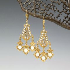 Catherine Popesco Filigree Chandelier Earrings with Crystals in White Opal - product images 1 of 6