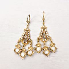 Catherine Popesco Filigree Chandelier Earrings with Crystals in White Opal - product images 2 of 6