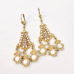 Catherine Popesco Filigree Chandelier Earrings with Crystals in White Opal - product images 3 of 6