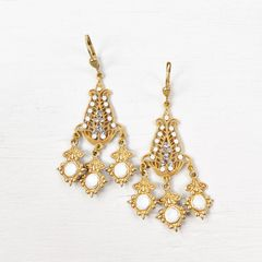 Catherine Popesco Filigree Chandelier Earrings with Crystals in White Opal - product images 4 of 6