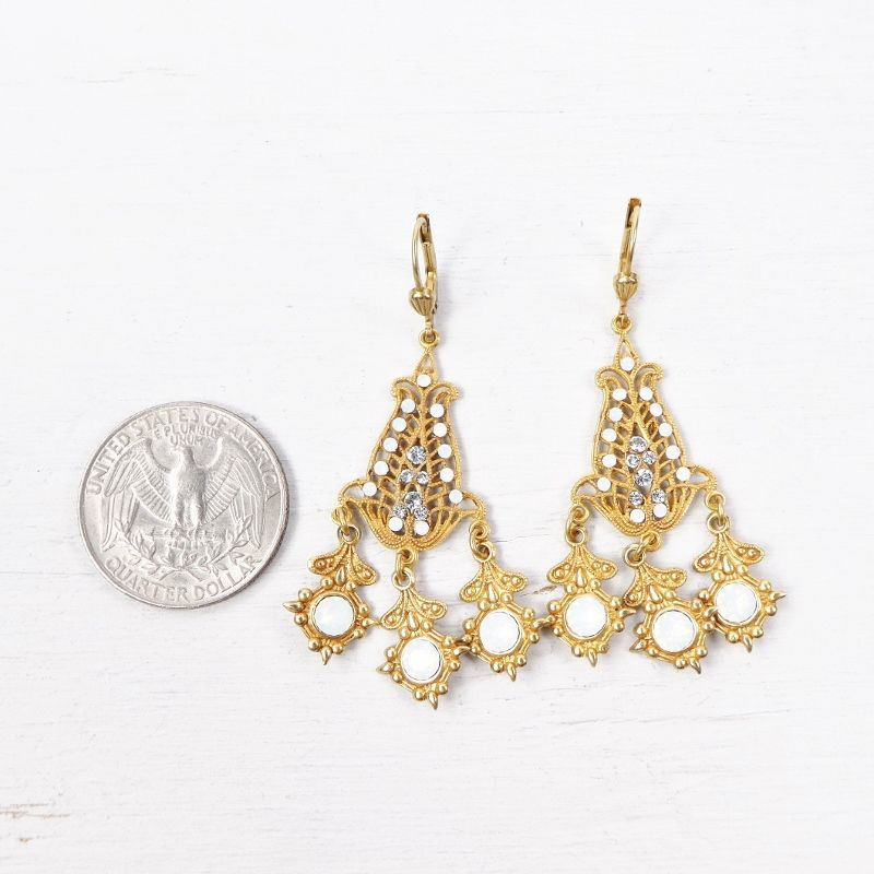Catherine Popesco Filigree Chandelier Earrings with Crystals in White Opal - product image