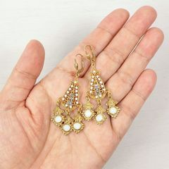 Catherine Popesco Filigree Chandelier Earrings with Crystals in White Opal - product images 6 of 6