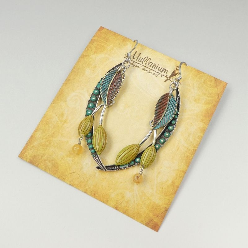 Mullanium Earrings - Blue Fern with Berry - product image