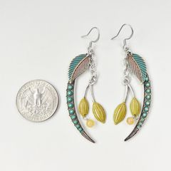Mullanium Earrings - Blue Fern with Berry - product images 4 of 5
