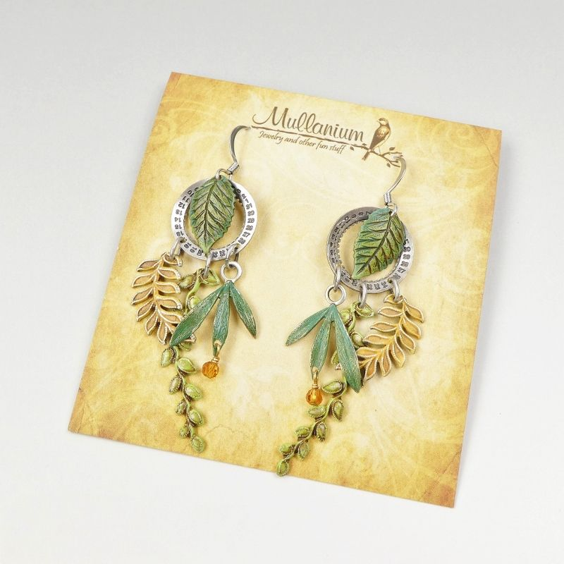 Mullanium Earrings - Date Wheel and Leaves - product image