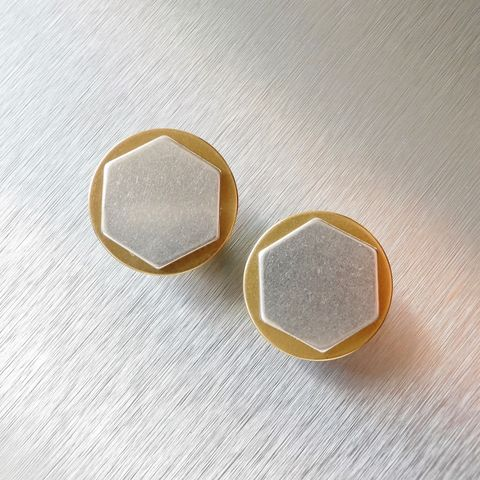 Marjorie,Baer,Gold,Silver,Two,Tone,Disc,and,Hexagon,Earrings,Marjorie Baer Gold Silver Two Tone Disc and Hexagon Earrings