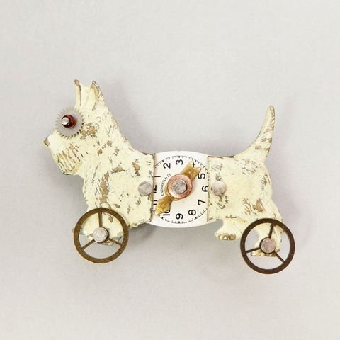 Mullanium,White,Scotty,Dog,On,Wheels,Pin,Mullanium White Scotty Dog On Wheels Pin, Mullanium pin, Mullanium dog pin, mixed media pin, steampunk pin