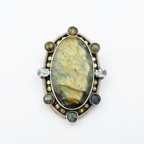Amy,Kahn,Russell,-,Faceted,Labradorite,Sterling,Silver,Pin,Pendant,Amy Kahn Russell Faceted Labradorite Sterling Silver Pin Pendant