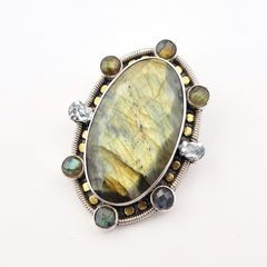 Amy Kahn Russell - Faceted Labradorite Sterling Silver Pin Pendant - product images 2 of 10