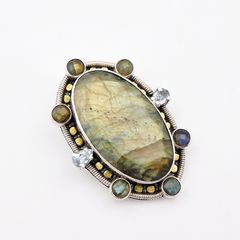 Amy Kahn Russell - Faceted Labradorite Sterling Silver Pin Pendant - product images 3 of 10