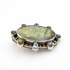Amy Kahn Russell - Faceted Labradorite Sterling Silver Pin Pendant - product images 5 of 10