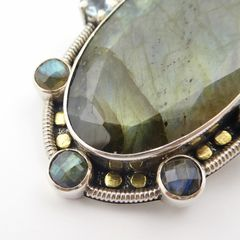 Amy Kahn Russell - Faceted Labradorite Sterling Silver Pin Pendant - product images 6 of 10