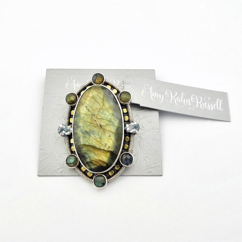 Amy Kahn Russell - Faceted Labradorite Sterling Silver Pin Pendant - product image