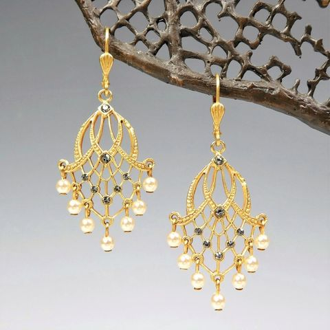 Catherine,Popesco,Gold,Filigree,Earrings,with,White,Pearl,Fringe,Catherine Popesco Earrings, La Vie Parisienne Earrings, Catherine Popesco Jewelry, Catherine Popesco Paris
