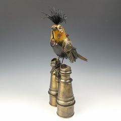 Mullanium Bird - Yellow and Black Bird with Magnifying Glass on Tall Vintage Binoculars - product images 2 of 10