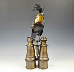 Mullanium Bird - Yellow and Black Bird with Magnifying Glass on Tall Vintage Binoculars - product images 3 of 10
