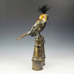 Mullanium Bird - Yellow and Black Bird with Magnifying Glass on Tall Vintage Binoculars - product images 4 of 10