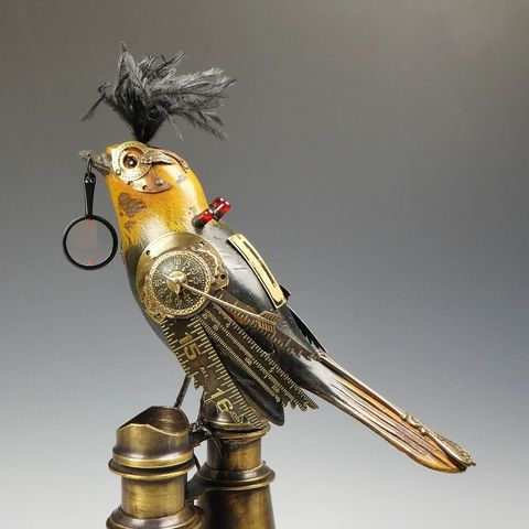 Mullanium,Bird,-,Yellow,and,Black,with,Magnifying,Glass,on,Tall,Vintage,Binoculars,Mullanium Birds, Mullanium songbirds, mullanium by jim and tori, Mullanium Bird on Binocular