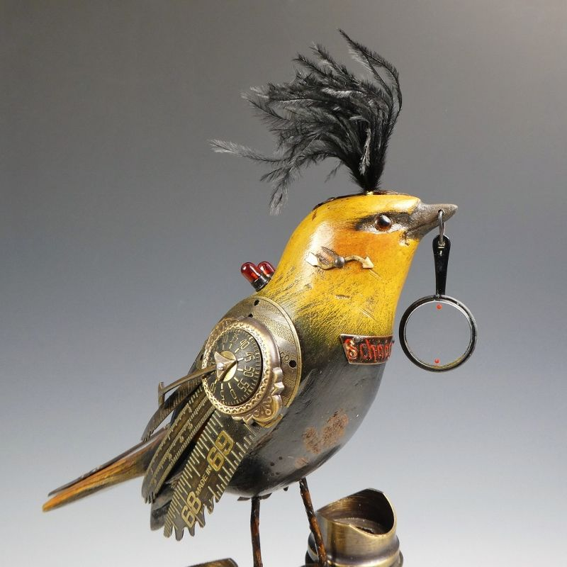 Mullanium Bird - Yellow and Black Bird with Magnifying Glass on Tall Vintage Binoculars - product image