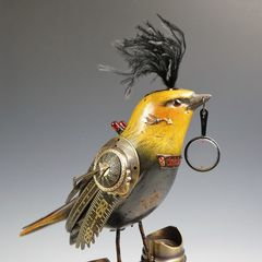 Mullanium Bird - Yellow and Black Bird with Magnifying Glass on Tall Vintage Binoculars - product images 6 of 10
