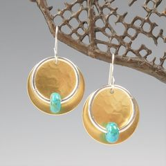 Marjorie Baer Hammerd Brass Disc with Ring and Turquoise Bead Drop Earrings - product images 1 of 7