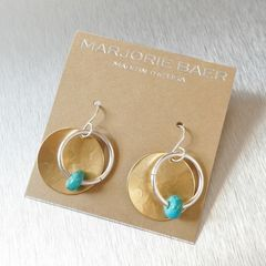 Marjorie Baer Hammerd Brass Disc with Ring and Turquoise Bead Drop Earrings - product images 6 of 7