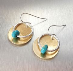 Marjorie Baer Hammerd Brass Disc with Ring and Turquoise Bead Drop Earrings - product images 3 of 7