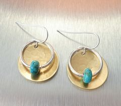 Marjorie Baer Hammerd Brass Disc with Ring and Turquoise Bead Drop Earrings - product images 2 of 7